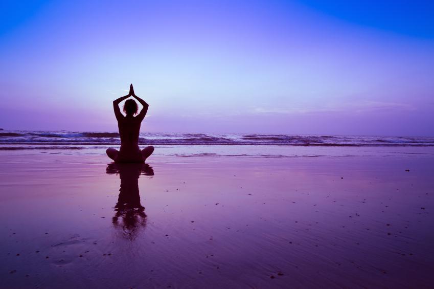 yoga on the beach, meditation