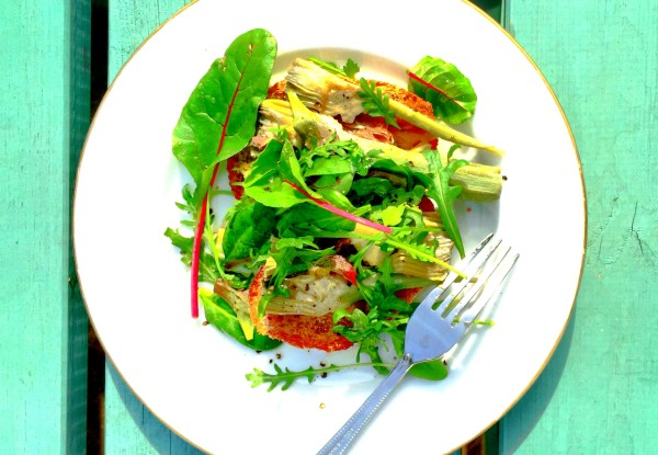 Artichoke hearts on homemade spelt bread, with spring leaf salad
