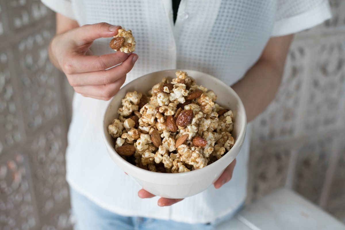 Almond Caramel Popcorn Clusters
