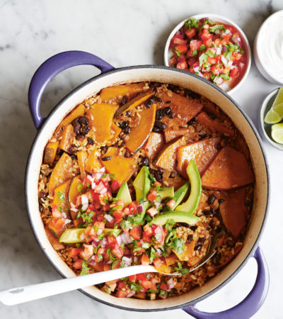 Pumpkin & Black Bean Baked Rice Bowl