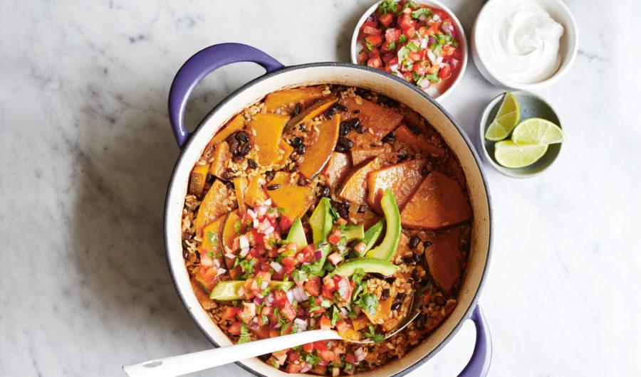 Pumpkin & Black Bean Baked Rice Bowl