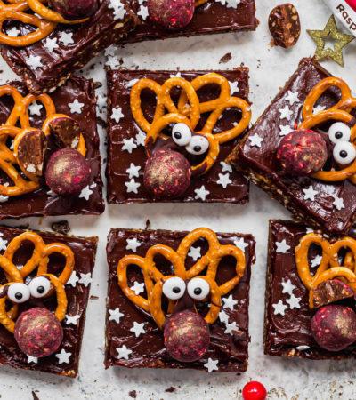 Vegan No-Bake Reindeer Brownies