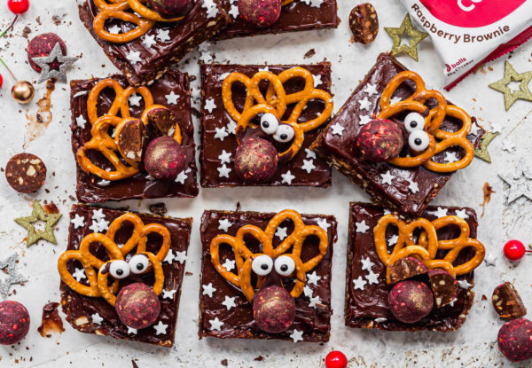 Vegan No-Bake Reindeer Brownies