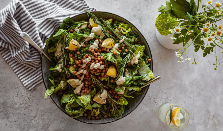 Vegan Caesar Salad with Roasted Chickpea Croutons